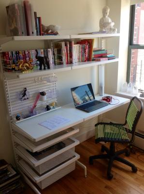 Coffee white elfa freestanding study the container store for Elfa desk system
