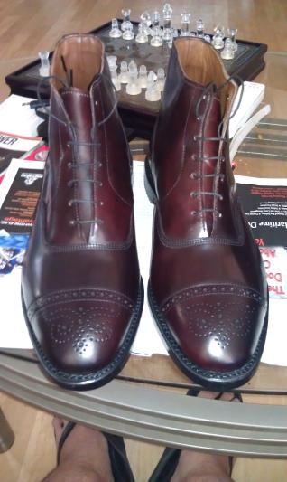 Stunning burgundy shell cordovan on a sleek, sophisticated boot.