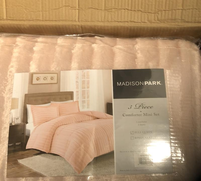 Full//Queen Grey Madison Park Duke Faux Fur Plush Bedding 3 Piece Comforter Set Super Soft and Cozy Warm
