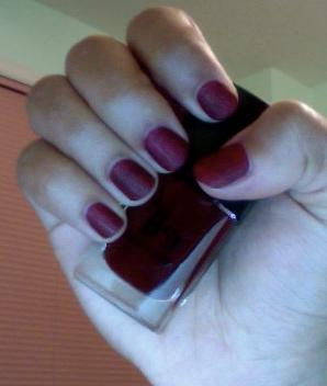 dark red, 2 coats + 1 coat mattifier