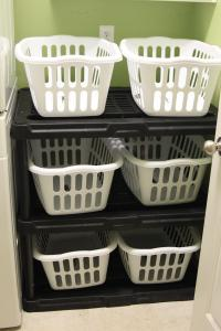 DIY Laundry Room Basket Shelving