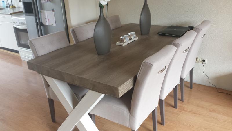 Eetkamertafel Lynn - wit eikenkleur/bruin - 77,5x184x102 cm | Leen ...