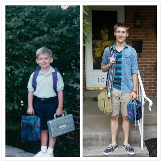 First Day Of Kindergarden In August 2001 With His New LL Bean Backpack And Lunch Bag