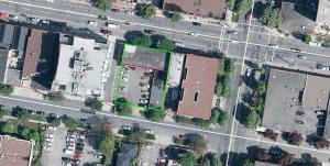 aerial photo of the building outlined in green