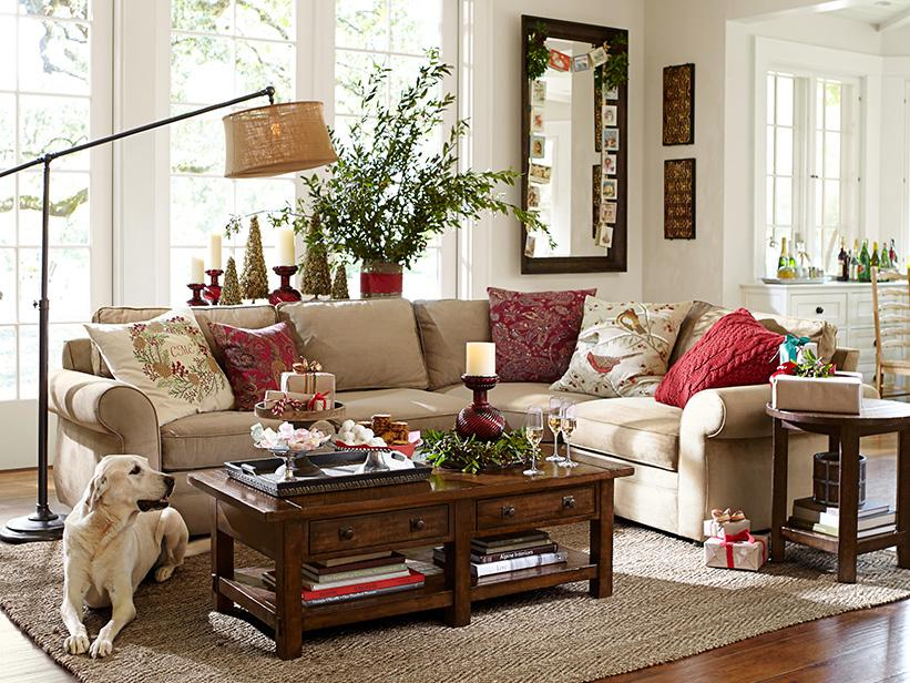 Pottery barn catalog pottery barn rugs and living rooms for Living room xmas ideas
