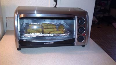 ... really small but it works so far i bought this toaster oven on