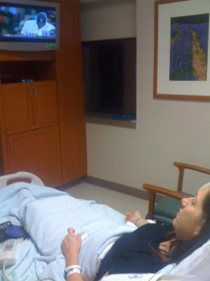 Keri watching the Red Sox 2-days Pre-Op