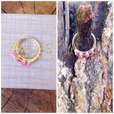 Cushion Cut Pink Topaz Three Stone Ring In 10k Gold With