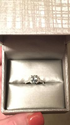 Oval Aquamarine And Diamond Accent Engagement Ring In