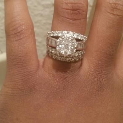 4 Ct T W Composite Diamond Cluster Engagement Ring In