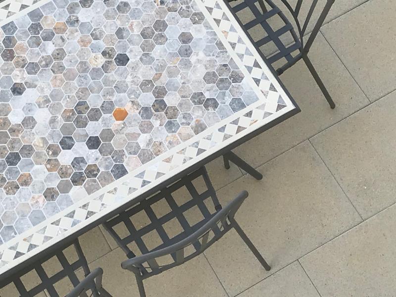 Table de jardin métal et marbre Blooma Sofia L. 160 x l. 90 x H. 74 ...