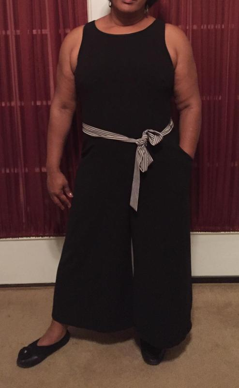 Striped Belt Black Jumpsuit Gabby Skye Gwynnie Bee Rental