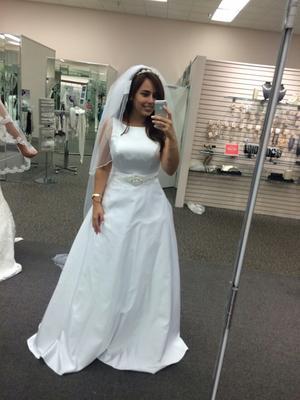 High Neck Satin Wedding Dress with Open Back | David\'s Bridal