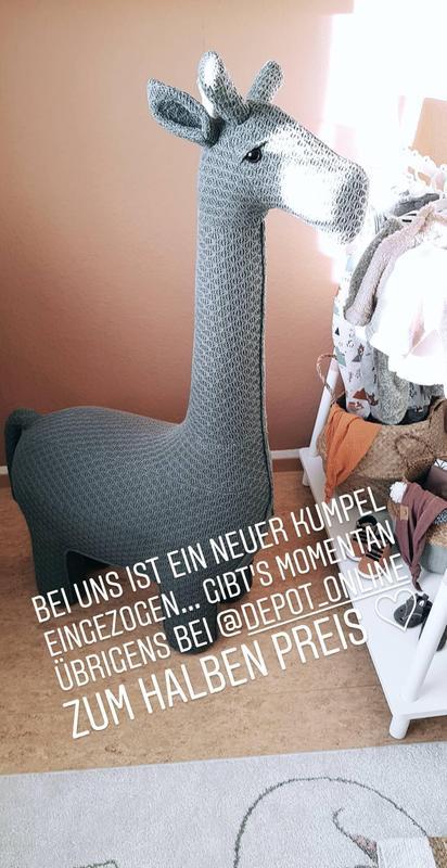 Hocker Giraffe 75x35x128cm Dunkelgrau Depot De
