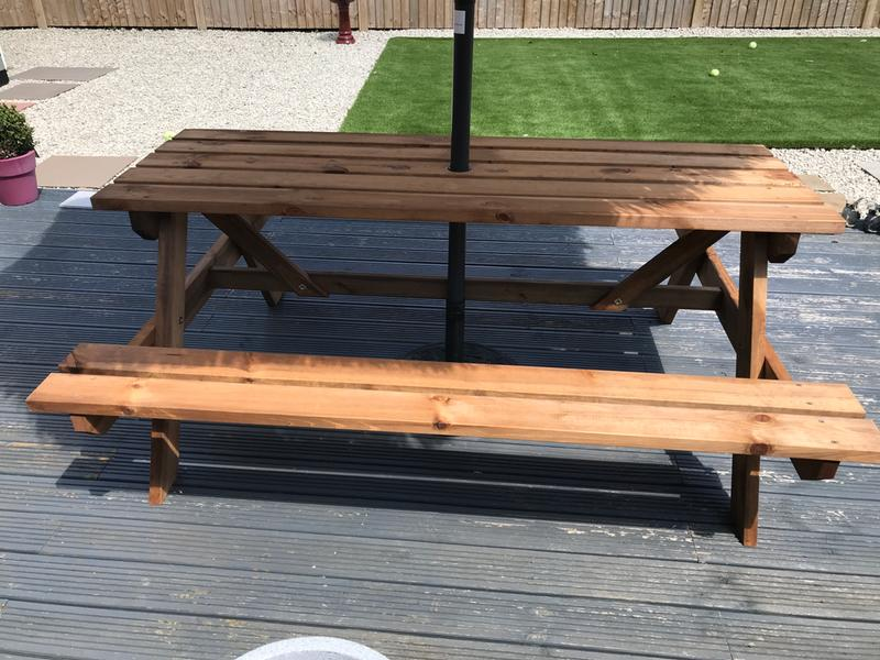 Agad Wooden 6 Seater Picnic Bench Departments Diy At Bq