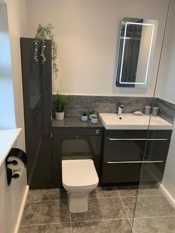 Goodhome Imandra Gloss Grey Single Door Wall Cabinet W 400mm H 900mm Departments Diy At B Q