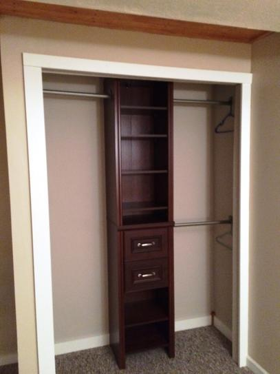 ClosetMaid Impressions 14.57 In. D X 16.97 In. W X 82.46 In. Dark Cherry  Narrow Laminate Closet System Kit 30850 At The Home Depot   Mobile