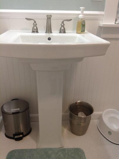 Kohler Archer Vitreous China Pedestal Combo Bathroom Sink In Biscuit With Overflow Drain K 2359 8 96 At The Home Depot Mobile