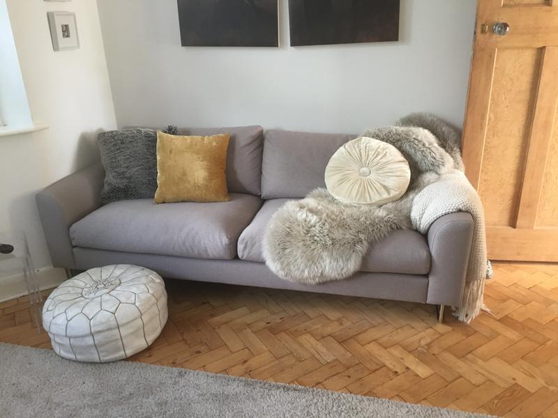 LYLE Tan premium leather 3 seater sofa Buy now at Habitat UK