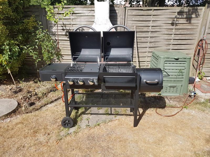 Gas Holzkohlegrill Kombi Obi : Jamestown gas & holzkohle kombi grillstation dean mit seitenkocher