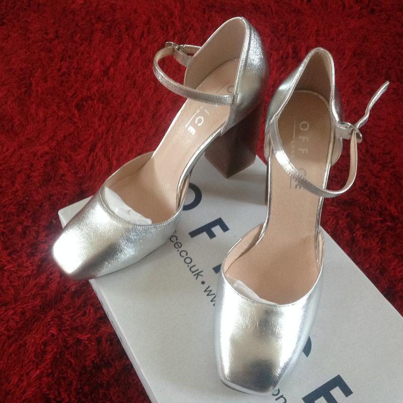 48af746017f2 Love them. Originally posted on Office Nibbles Mary Jane Block Heel SILVER  LEATHER