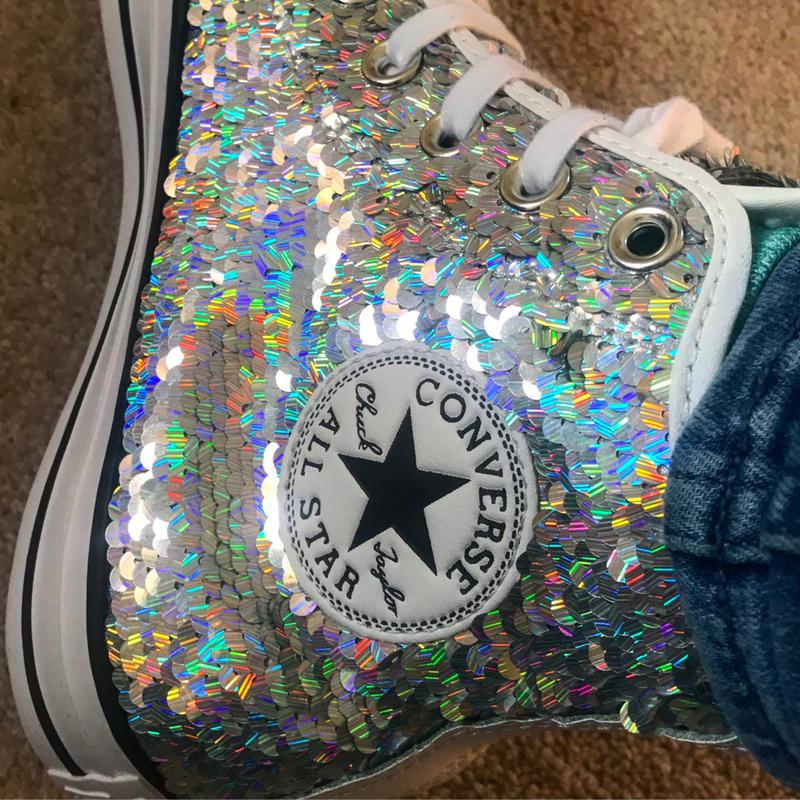 906c8c2db64c Converse All Star Hi Trainers Silver White Sequin - Hers trainers