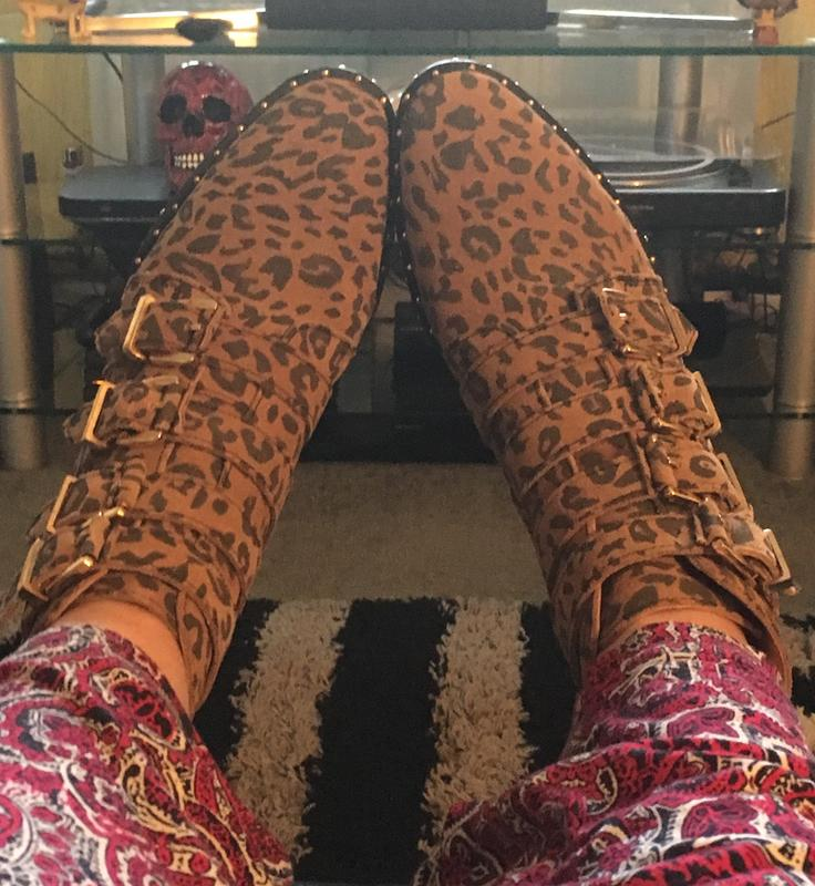 60122c0328c0 Lovely Leopard Boots! Originally posted on Office Amsterdam- Multi Buckle  Studded Boot LEOPARD NUBUCK GOLD HARDWARE
