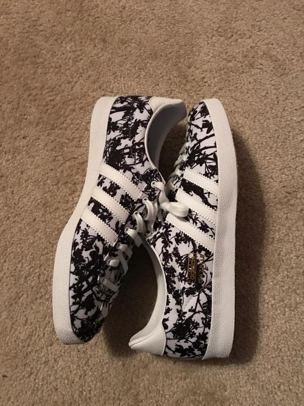 adidas gazelle og white black floral print