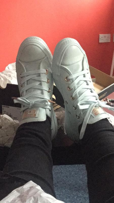 f1ef46852078 Converse All Star Low Leather Powder Blue Rose Gold Exclusive ...