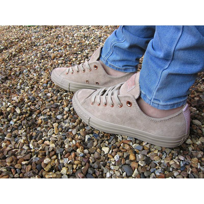 dbf3d5d3be86 Review photo 1. Originally posted on Converse All Star Low Leather Trainers  VINTAGE KHAKI VAPOUR PINK EXCLUSIVE