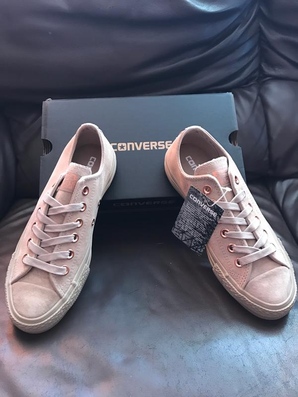 a041b5953a35 Converse All Star Low Leather Trainers Egret Vapour Pink - Hers trainers