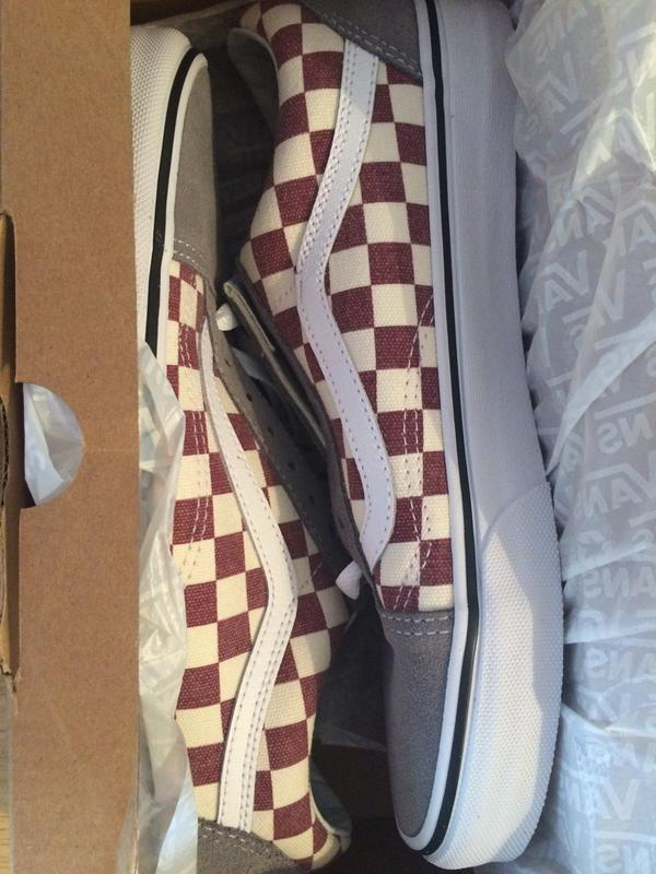 263a09abccea06 Great colour. Originally posted on Vans Old Skool CHECKERBOARD FROST GREY  RHUBARB