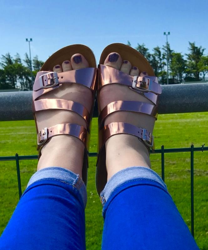 4e57ef35f2e3 Relaxing in style at kids football training. Originally posted on Office  Bounty Cross Strap Footbed ROSE GOLD
