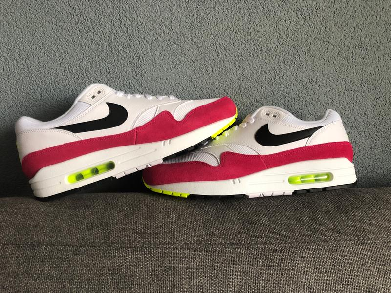 big sale 85cca ff203 Review photo 1. Originally posted on Nike Air Max 1 WHITE BLACK VOLT RUSH  PINK