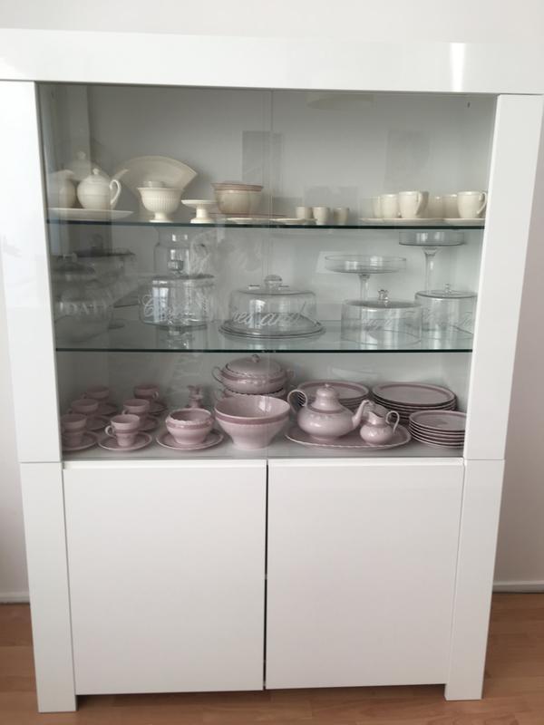 Hoogglans Witte Servieskast.Vitrine Amalfi Hoogglans Wit 170x123x50 Cm
