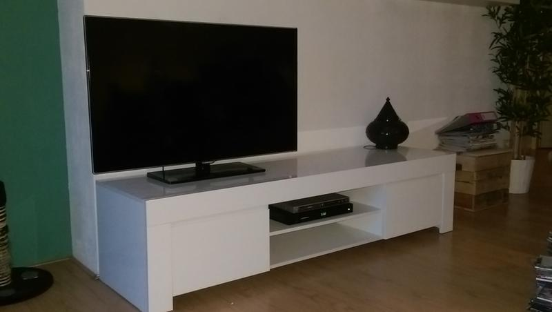 Tv meubel amalfi hoogglans wit 45x190x50 cm