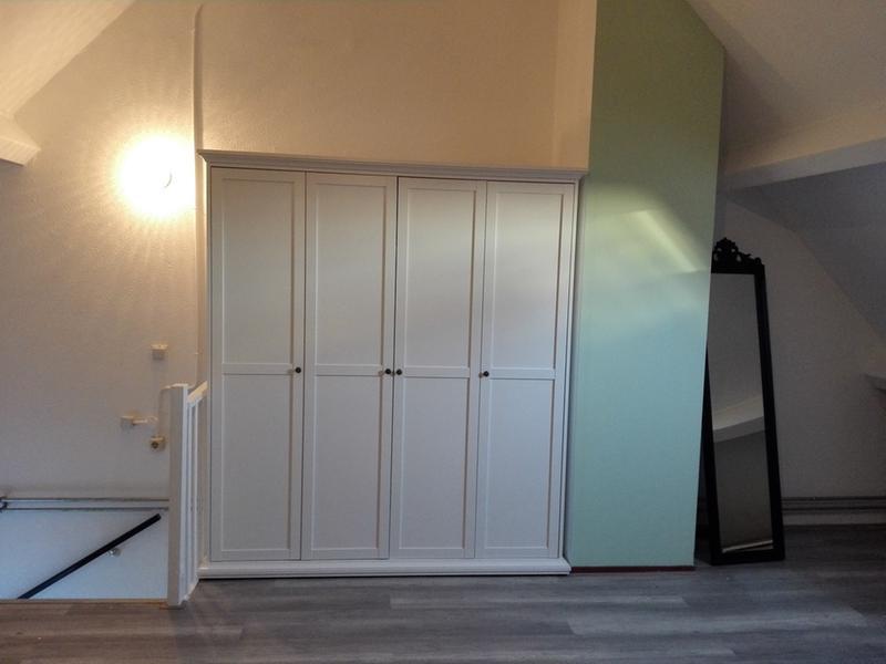 Leen Bakker Kast : Kledingkast fleur 4 deurs wit 201x181x61 cm