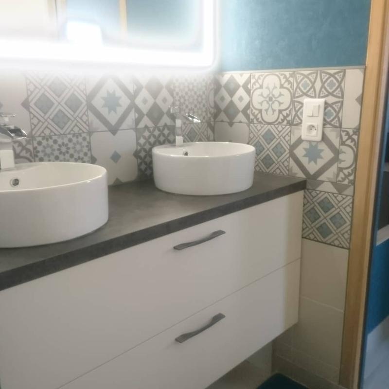 Carrelage Sol Et Mur Noir Et Blanc Effet Ciment Gatsby L20 X L20
