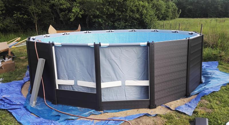 Piscine hors sol tubulaire graphite intex diam x h 1 - Habillage piscine hors sol intex ...