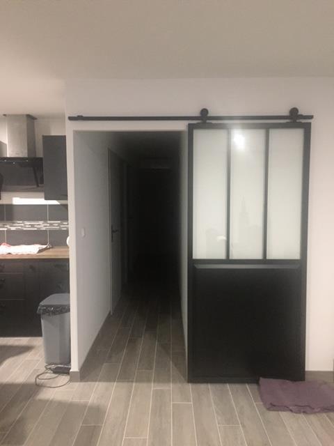 Porte Coulissante Aluminium Noir Atelier Verre Clair Artens H X