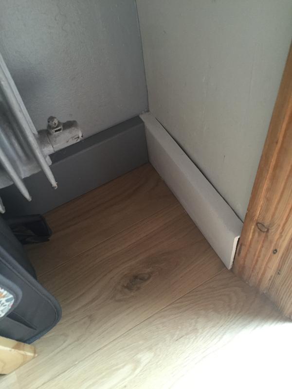 Surplinthe de r novation m dium mdf m lamin blanc 19 x 110 mm l 2 2 m leroy merlin - Comment couper des plinthes a 45 ...