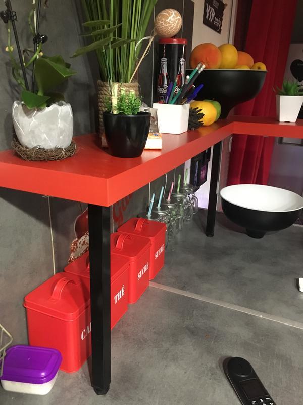 Pied De Table Basse Carré Fixe Acier époxy Noir, 40 Cm