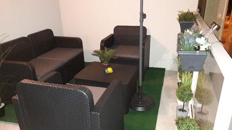 Salon bas de jardin Sorrento résine injectée anthracite, 4 personnes
