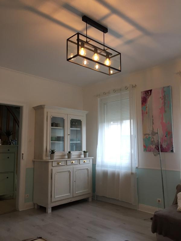 suspension e27 style industriel charterhouse verre noir 3 x 60 w eglo leroy merlin. Black Bedroom Furniture Sets. Home Design Ideas
