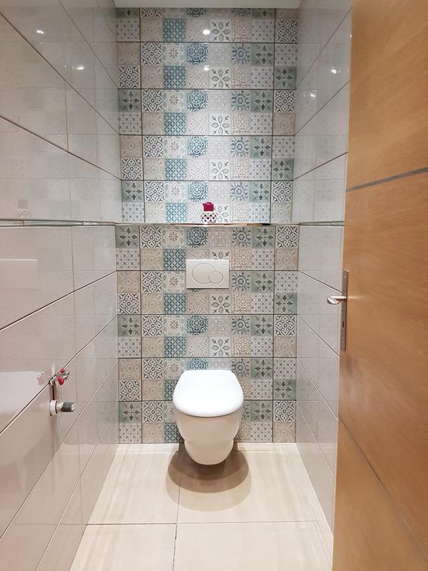 Fa ence mur blanc et bleu decor haussmann carreau ciment x cm le - Carrelage roy merlin ...