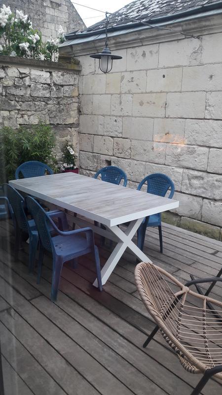 table de jardin de repas c ramica rectangulaire gris 6 personnes leroy merlin. Black Bedroom Furniture Sets. Home Design Ideas