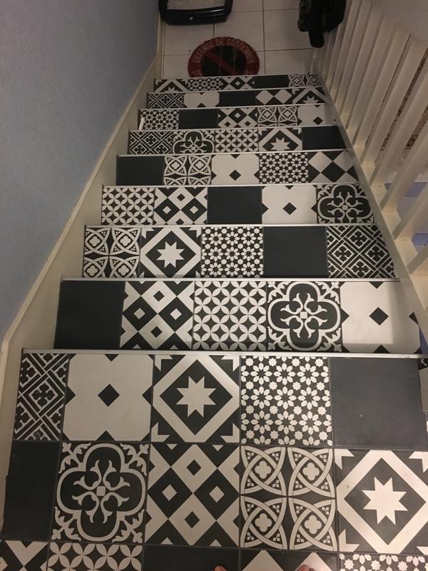 Carrelage sol et mur noir et blanc effet ciment gatsby l for Carrelage gatsby