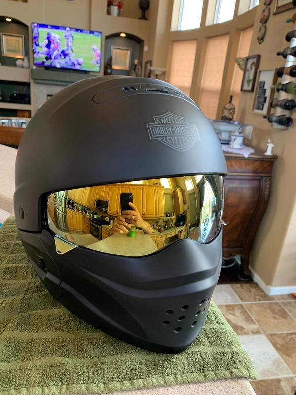 9cad1384 Harley Davidson Pilot 3 in 1 helmet with Scorpion Covert sun visor.