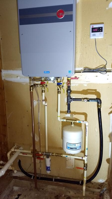 rheem professional prestige series 9 5 gpm indoor tanklessinstallation, replacing an old lp tank water heater