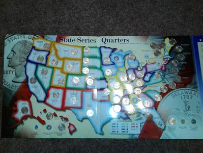 State Series Quarters Collector Map Also Including The District - Us state quarter map holder